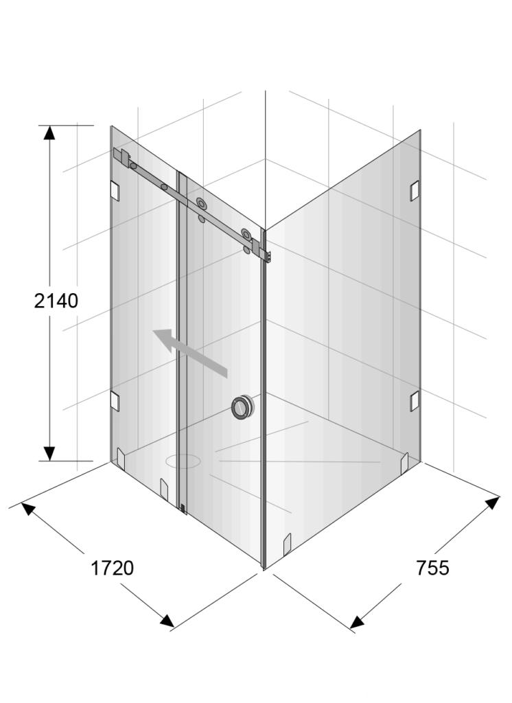 Shower Dimensions 2140x1720x755